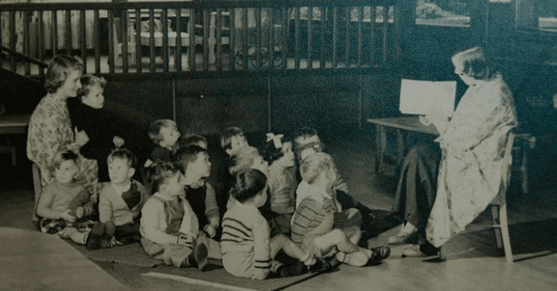 Lady Gowrie teaching young children